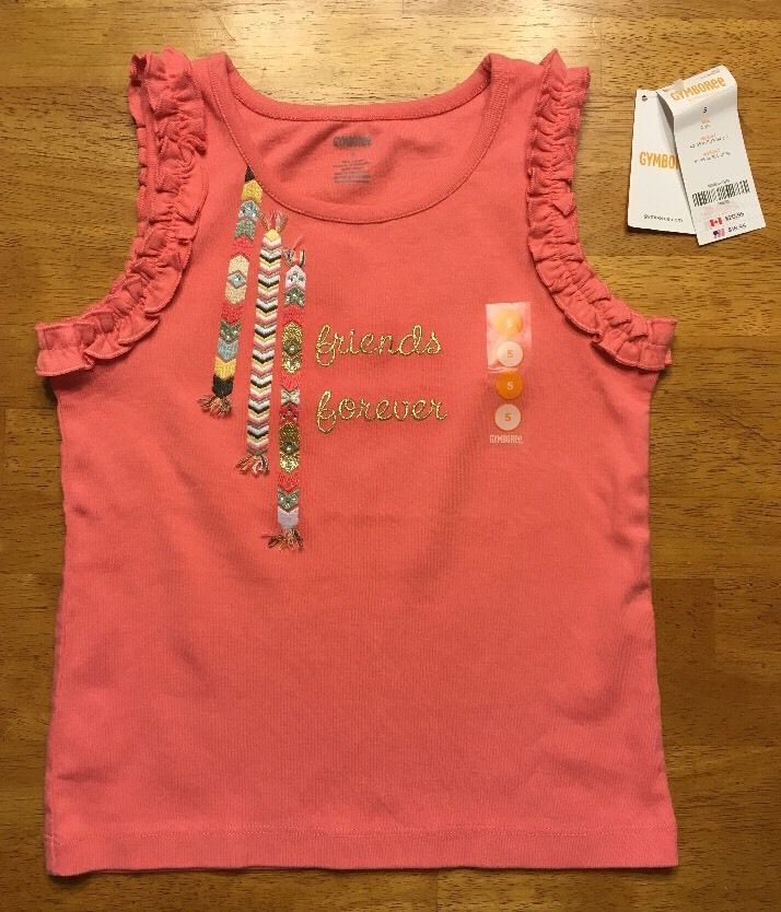 Primary image for NWT Gymboree Girl's Pink Ruffled Sleeveless Shirt - Size: 5 - Friends Forever
