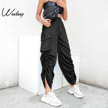 Weekeep Black Loose High Waist Pants Women Fashion Streetwear Adjustable Wide Le - $43.80