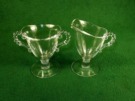 Vintage Imperial Glass Creamer & Sugar Bowl, Candlewick, Pedestal Base, ... - $24.45