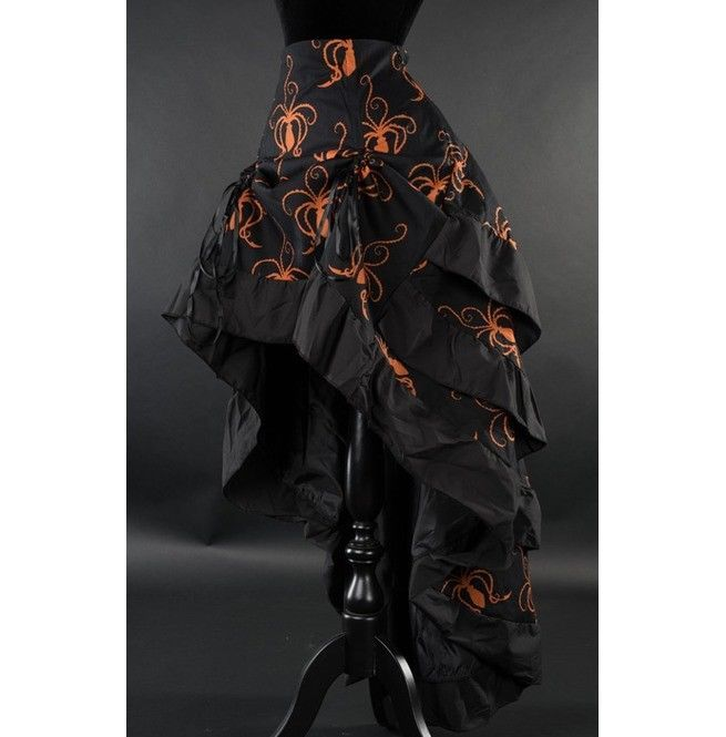 Black Orange Octopus Steampunk Corset Back Long 3 Layer Victorian Goth Skirt