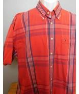 Tommy Hilfiger Red Plaid Shirt Short Sleeve Button Down Collar XL - $19.94