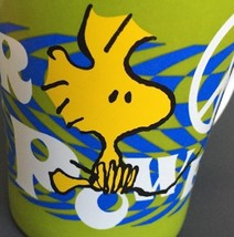 Woodstock Flower Power Mug Cup Peace Sign Peanuts Green Yellow 16oz Large Handle - $14.43