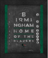 "Alabama Birmingham Blazers 13x16 College""Chalkboard Look Eye Chart"" Fram... - $39.95"