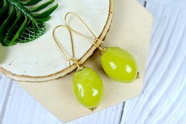 Green Handmade Ceramic Dangle Earrings for Minimalist, Colorful Jewelry - $8.59