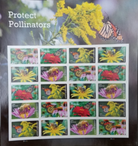 New! PROTECT POLLINATORS 2016 (USPS) STAMP SHEET 20 FOREVER STAMPS - $12.95