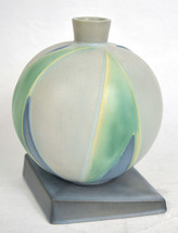 Roseville Pottery Futura Lotus Leaf Ball Vase Green Sphere 387-7 USA - $1,163.97