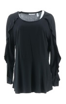 Isaac Mizrahi Ruffle Long Slv Peplum Knit Top Black XXS NEW A343208 - $30.67