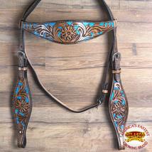 Western Horse Headstall Tack Bridle American Leather Mahogany Hilason U-... - $59.39