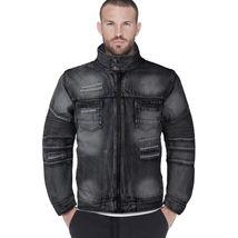 Contender Men's Distressed Multi Pocket Zip Up Cotton Denim Jean Jacket 9DJ03 image 5