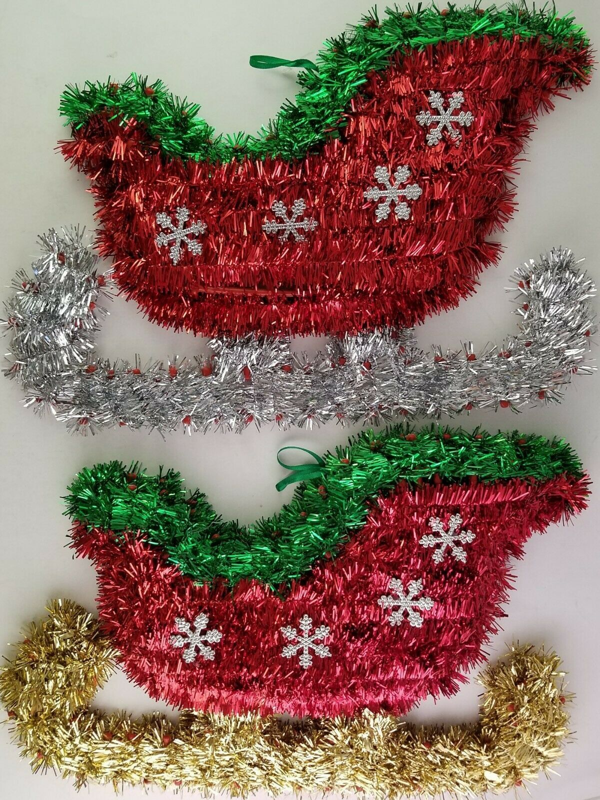 "Primary image for Christmas Tinsel Sleighs Wall Decor 14""Hx9""Wx1""D, Select: Gold or Silver Runners"
