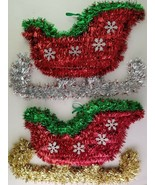 """Christmas Tinsel Sleighs Wall Decor 14""""Hx9""""Wx1""""D, Select: Gold or Silver... - $2.99"""