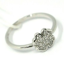 SOLID 18K WHITE GOLD RING, CENTRAL FOUR LEAF CLOWER 8mm WITH DIAMONDS image 2