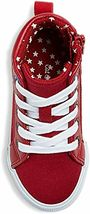 Cat & Jack Toddler Boys' Red Hardy Mid Top Canvas Sneakers Side Zipper Stars NEW image 3