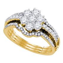 14kt Yellow Gold Diamond Cluster Bridal Wedding Engagement Ring Set 1.00 Cttw - $1,423.82