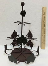 """Spice Rack Holder Wrought Iron Metal Brown w/ Green Ivy Leaves 9 Slots 13"""" - $19.79"""