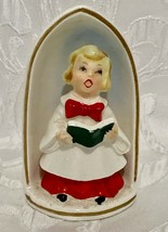 Vintage Christmas Caroler Candle Holder Blonde Hair Girl Ceramic 4 3/4 inch - $13.49