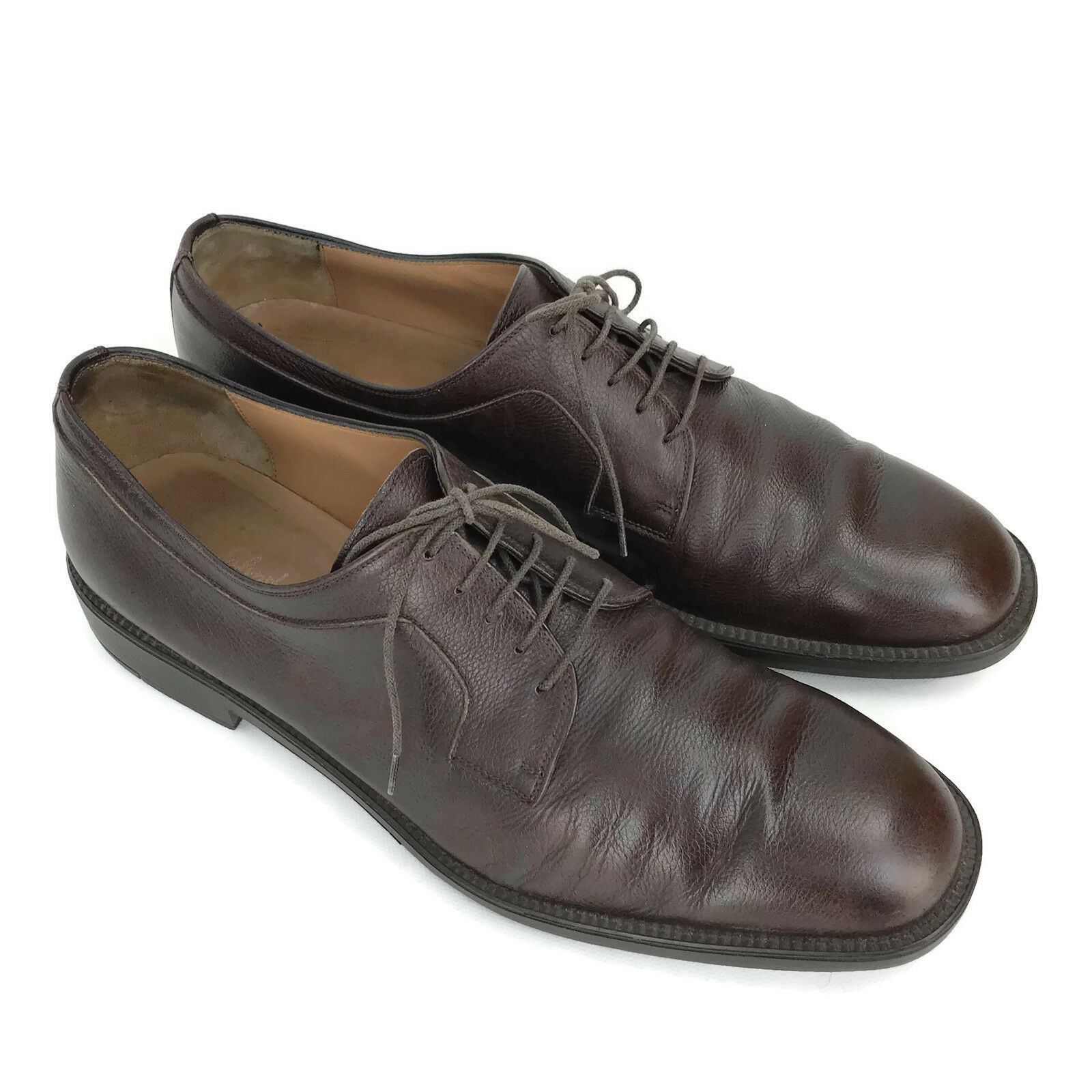 Primary image for Salvatore Ferragamo Men's Brown Pebbled Leather Lace Up Oxfords Size 10.5 D
