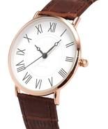 Wrist Watch Mens Minimalist Quartz Brown Leather Strap Classic Roman Num... - $35.14