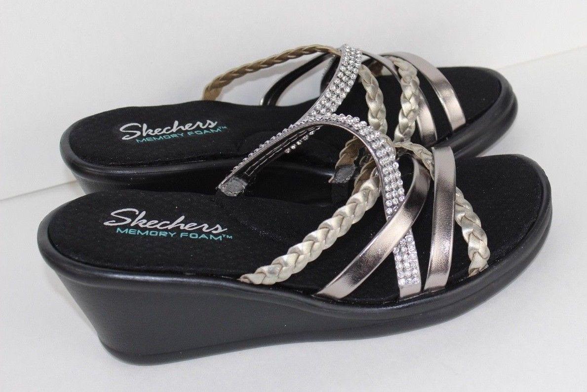 99016faf42c7 Skechers Cali women s sandals memory foam wild child wedge silver black  size 7