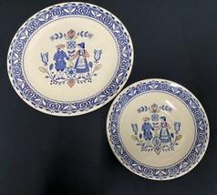 Vintage Staffordshire Old Granite Hearts & Flowers Plates Set of 2 - $23.74