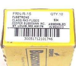 BOX OF 10 COOPER BUSSMANN FRN-R-15 FUSES CLASS RK5 FUSETRON, FRNR15 image 3