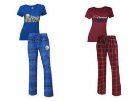NBA Women's Halftime Sleep Set Tee Shirt Pants Lounge Pajamas Golden State, Cavs