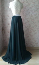 Dark Green Plus Size Maxi Chiffon Skirt Dark Green Bridesmaid Maxi Chiffon Skirt image 11