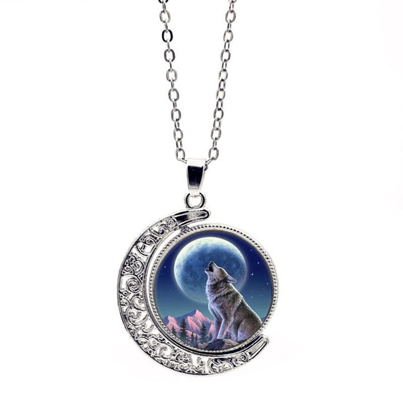 Fashion Moon Glass Dome Double Side Rotate Charm Wolf Whistling Month Jewelry Pe - $9.53