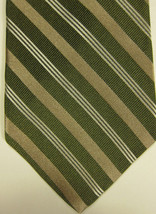 NEW Brooks Brothers Green Gold and White Stripes Silk Tie - $37.49