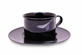 Mikasa Galleria Opus Black FK701 Calla Lily Cup and Saucer Set - $18.61