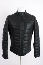 Zara Man Men Jacket Coat Small Faux Leather Puffer Perforated Black 4341/499 NWT - $118.79