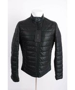 Zara Man Men Jacket Coat Small Faux Leather Puffer Perforated Black 4341... - $118.79