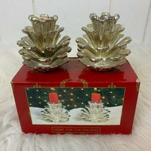 Home for the Holidays Silver Pine Cones Silverplate Candleholders 1995 C... - $24.70