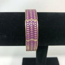 Lia Sophia Purple Gold Tone Chevron Stretch Bracelet Rhythmic  - $14.84