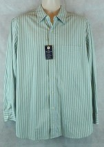 Club Room Button Down Long Sleeve Striped Shirt Sz Large 100% Cotton Gre... - $15.79