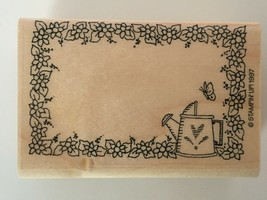 Stampin Up Floral Bookplate Book Library Rubber Stamp 1997 Flowers Watering Can - $8.49