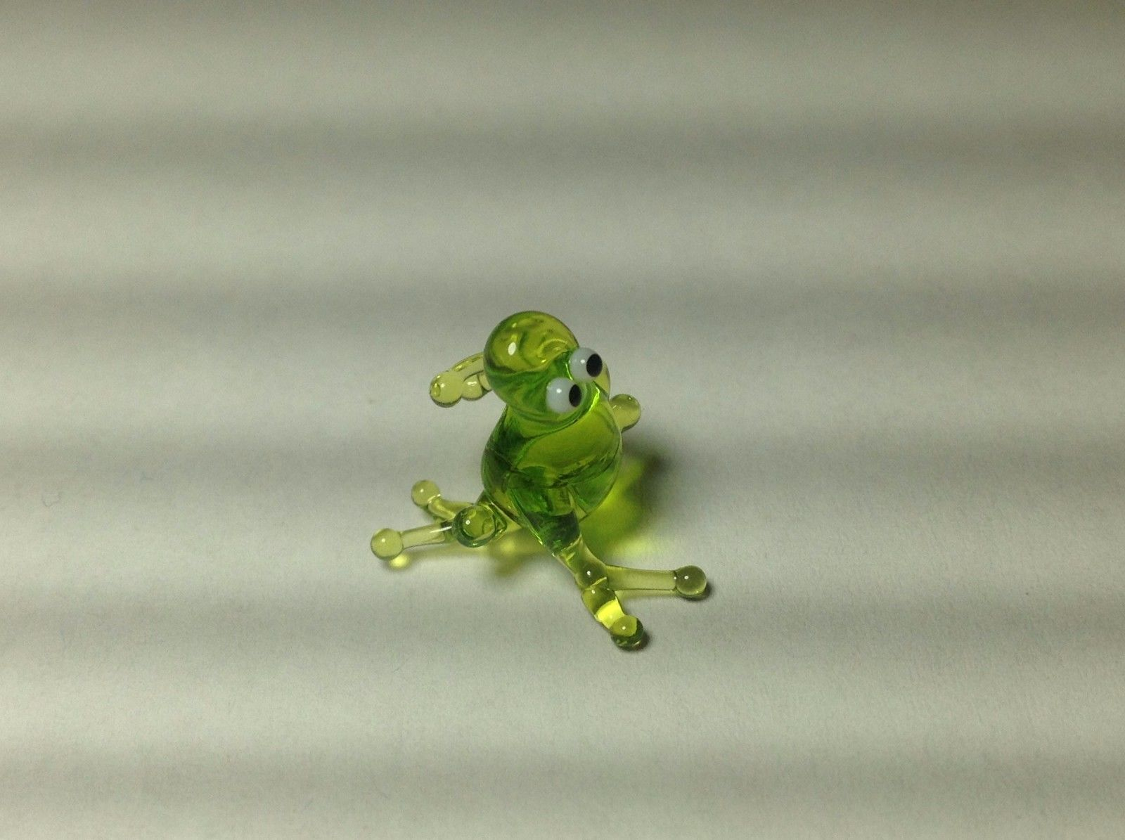 Miniature Glass  Green Sitting frog  Handmade Blown Glass Made USA
