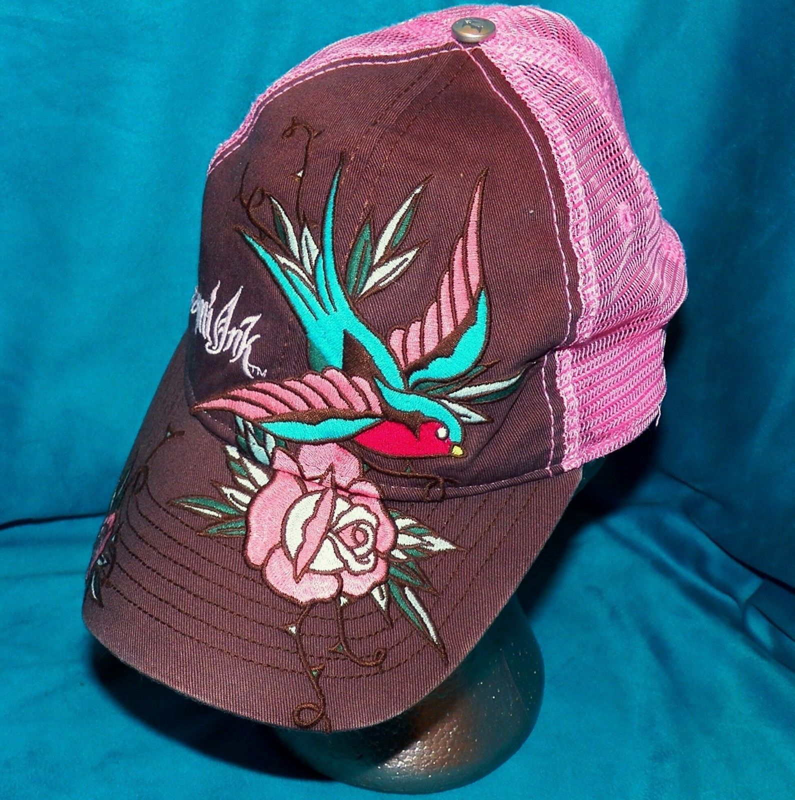Primary image for Miami Ink Bio Domes Pink Swallow and Rose Tattoo Mesh Snapback Baseball Hat Cap