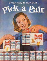 Vintage Budweiser King of Beer Ad   Pick A Pair   2.5 x 3.5 Fridge Magnet - $3.99