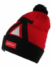 Asphalt Yacht Club Mens Red Black Big A Cuff Fold Skate Beanie Winter Hat NWT