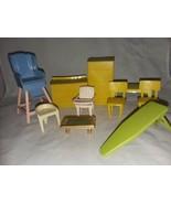 10 Doll House Miniature Furniture Vtg Plastic Potty Chair 2 Chairs Fridg... - $15.99