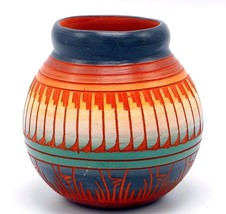 "Navajo Pottery Pot Hand Painted Etched Red Clay Feather Blue Green 4"" Si... - $37.94"