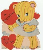 Vintage Valentine Card Stuffed Toy Bear in Blue Dress 1940's Unused Die-Cut - $8.90