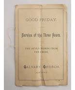 1890s antique CALVARY CHURCH GOOD FRIDAY SERVICE PROGRAM new york ny CRO... - $42.50