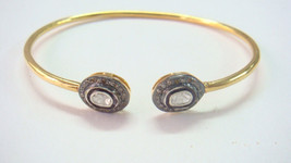 Vintage INSP 1.0 Ct Polky Rose Cut Diamond Sterling Silver Women Bracelet - $274.25