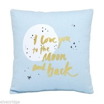Love you to the moon and Back Pillow blue and gold