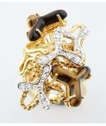 Tigre Occhio Quarzo & Diamante Forma Libera Design 18k Bicolore Oro Gruppo - $2,264.09