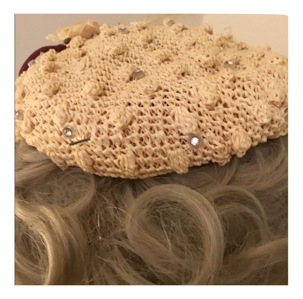 Vintage Raffia Clip-on Beige Hat with Rhinestones by Doree