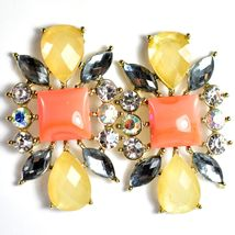 """Mode Cream & Pink Shourouk Style Look Lucite 1.75"""" Drop Dangle Post Earrings image 5"""