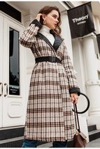 Elegant English Vintage Plaid  Quilted Reversible Full Length Winter Trench Coat image 5